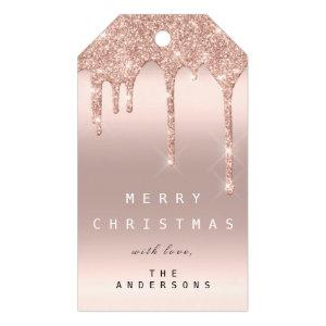Merry To Holiday Gift Tag Glitter Drip Spark Blush