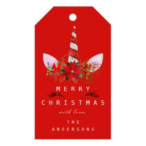 Merry To Holiday Gift Tag Gold Unicorn Red White