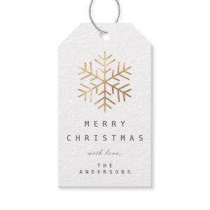 Merry To Holiday Gift Tag  White Gold Snowflakes