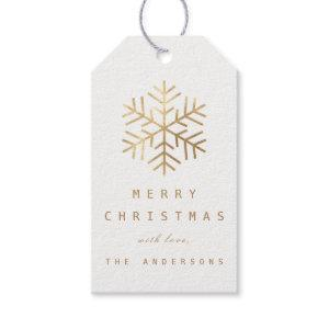 Merry To..Holiday Gift Tag White Golden Snowflakes