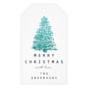Merry To Name Holiday Christmas Tree Green  Blue Gift Tags