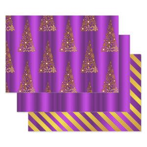 Metallic Gold and Purple Christmas Wrapping Paper Sheets