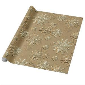 Metallic Gold Effect Snowflake Wrapping Paper