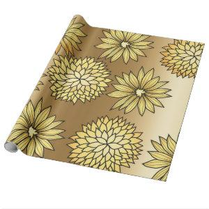 Metallic gold floral design wrapping paper