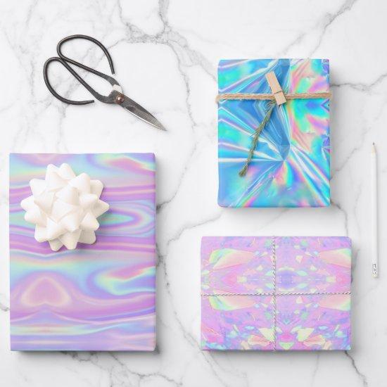 Metallic Iridescent Rainbow Pink Aqua Purple Girly Wrapping Paper Sheets