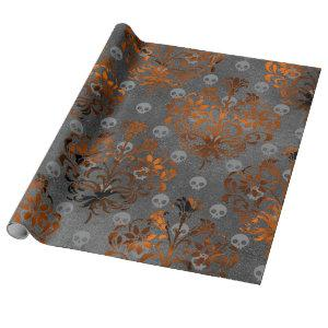 Metallic Orange Damask and Skulls Wrapping Paper