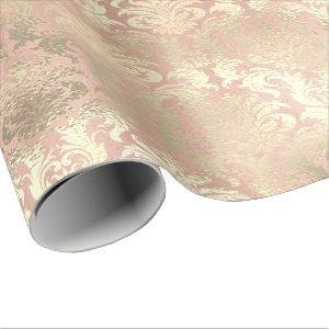 Metallic Pink Rose Gold Blush Royal Blush Damask Wrapping Paper