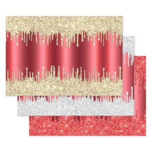 Metallic Red Christmas Dripping Glitter Combo Pack Wrapping Paper Sheets