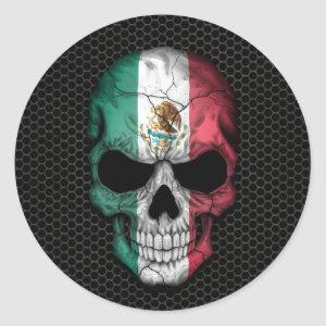 Mexican Flag Skull on Steel Mesh Graphic Classic Round Sticker