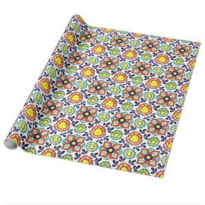 Mexican Talavera tile (red, green, yellow, blue) Wrapping Paper