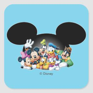 Mickey & Friends | Group in Mickey Ears Square Sticker