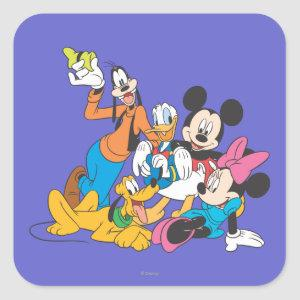 Mickey & Friends | Leaning Square Sticker