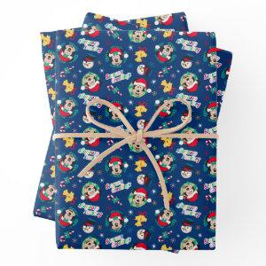 Mickey & Minnie | Blue Season's Greetings Pattern Wrapping Paper Sheets