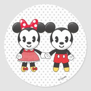 Mickey & Minnie Holding Hands Emoji Classic Round Sticker