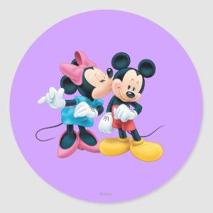 Mickey & Minnie | Kiss on Cheek Classic Round Sticker