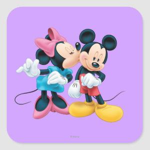 Mickey & Minnie | Kiss on Cheek Square Sticker