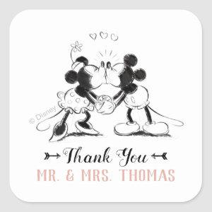 Mickey & Minnie | Pink Confetti Wedding Square Sticker