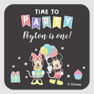 Mickey & Minnie | Time to Party Square Sticker
