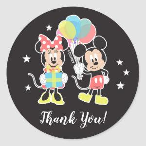 Mickey & Minnie | Time to Party Thank You Classic Round Sticker