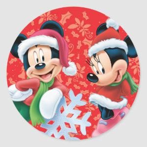 Mickey & Minnie With Snowflake Classic Round Sticker