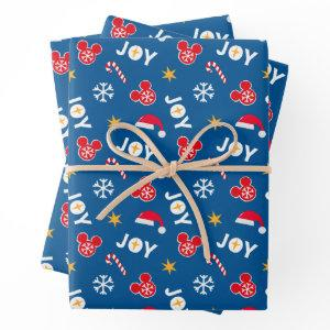 Mickey Mouse Christmas Blue Joy Pattern Wrapping Paper Sheets