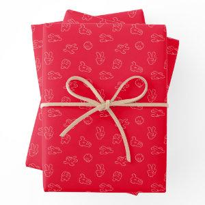 Mickey Mouse | Classic Icon Red Pattern Wrapping Paper Sheets