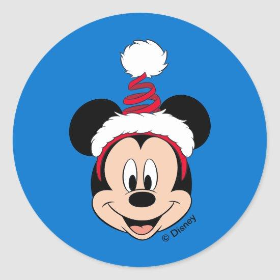 Mickey Mouse | Cute Christmas Hat Classic Round Sticker