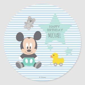 Mickey Mouse   First Birthday Classic Round Sticker