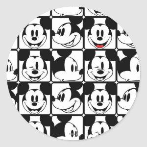 Mickey Mouse | Grid Pattern Classic Round Sticker