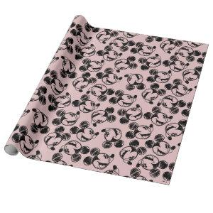 Mickey Mouse Head | Pink Sketch Pattern Wrapping Paper