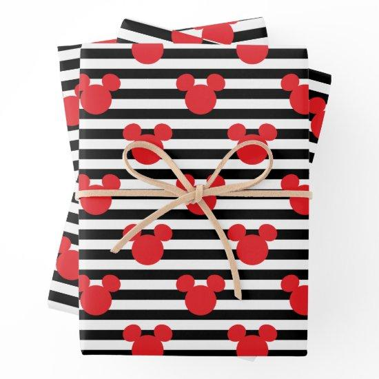 Mickey Mouse | Icon Black & White Striped Birthday Wrapping Paper Sheets
