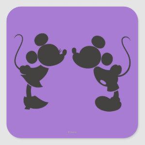 Mickey Mouse & Minnie  Silhouette Square Sticker