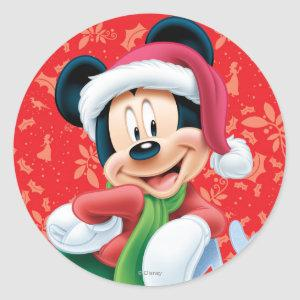 Mickey Mouse on Snowflake Classic Round Sticker
