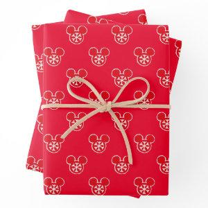 Mickey Mouse Red Holiday Snowflake Pattern Wrapping Paper Sheets