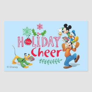 Mickey Spreading Holiday Cheer Rectangular Sticker