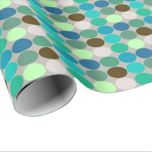 Mid-Century Giant Dots, Turquoise and Gray Wrapping Paper