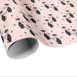 Mid Century Meow Retro Atomic Cats on Warm Pink Wrapping Paper
