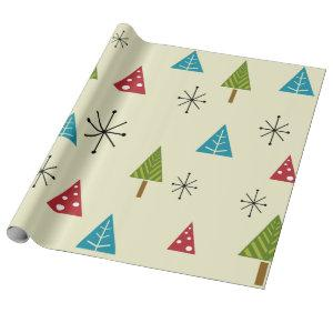 Mid Century Modern Christmas Trees Wrapping Paper