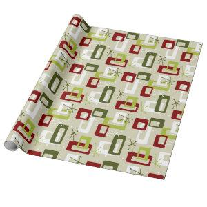 Mid-century Modern style Green and Red Sputnik Wrapping Paper