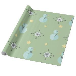 Midcentury Vintage Christmas Snowmen Wrapping Paper
