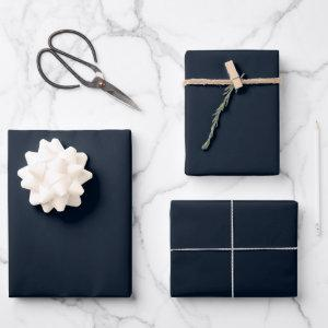 Midnight Blue Solid Wrapping Paper Sheets
