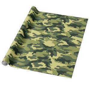 Military Green Camouflage Camo Pattern Wrapping Paper