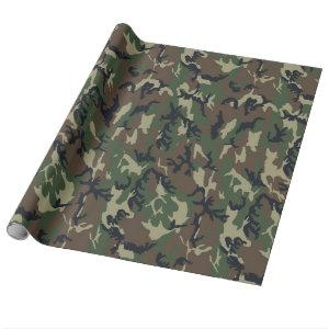 Military Green Camouflage Pattern Wrapping Paper