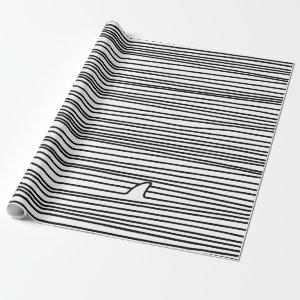 Minimal Line Drawing Simple Unique Shark Fin Gift Wrapping Paper