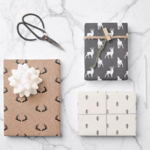Minimal Masculine Kraft Black White Grey Christmas Wrapping Paper Sheets