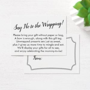 Minimal Say No to Wrapping Baby Shower Gift Card