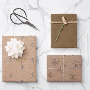 Minimalist Brown Kraft + Black Christmas Trio Gift Wrapping Paper Sheets