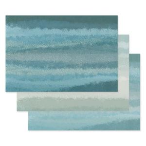 Minimalist Crackle Painting Teal Aqua Blue Variety Wrapping Paper Sheets