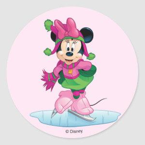 Minnie Ice Skating Classic Round Sticker