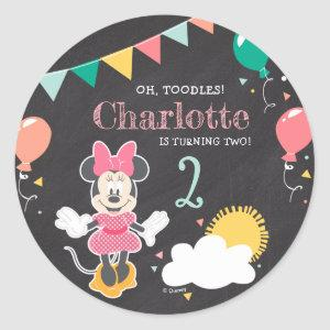 Minnie Mouse Chalkboard Birthday Classic Round Sticker